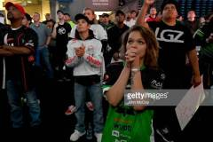 LOS ANGELES, CA - AUGUST 18: Fans cheer as 100 Thieves defeats Optic Gaming during the Call of Duty World League Championship 2019 at Pauley Pavilion on August 16, 2019 in Los Angeles, California. (Photo by John McCoy/Getty Images)